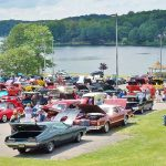 Decorative Photo Showing Car Show in Treasure Lake located near DuBois, PA. Lakeview Lodge.