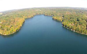 Decorative Photo showing Aerial View of Bimini Lake in Treasure Lake, near DuBois, PA.