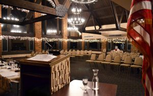 Decorative Photo showing Lakeview Lodge Ready for a Business Meeting. Located in Treasure Lake, near DuBois, PA. PA System, Projection System, WiFi.