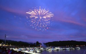 Decorative Photo Showing Fourth of July Fireworks in Treasure Lake located near DuBois, PA.