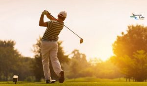Decorative Photo Showing a Golfer at Sunset