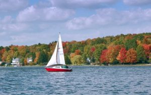 Decorative Photo showing Sail Boat in Treasure Lake, near DuBois, PA.