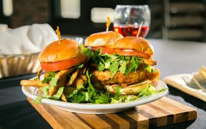 Decorative Photo featuring Beer Battered Fish Sliders and Wine.