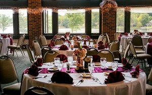 Decorative Photo showing Lakeview Lodge Ready for a Lakefront Wedding Reception. Located in Treasure Lake, near DuBois, PA. Gourmet Wedding Food.